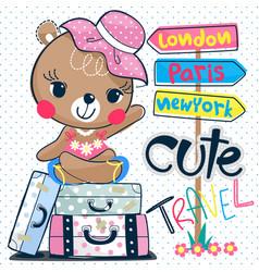 cute cartoon teddy bear girl sitting on suitcase vector image