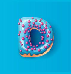 Donut icing blue upper latters - d font donuts vector