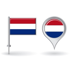 Dutch pin icon and map pointer flag vector image