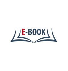 e book store logo education and book emblem vector image