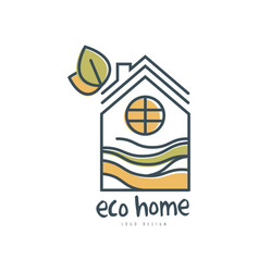 eco home logo design ecologic home sign with vector image