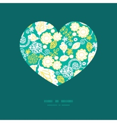 emerald flowerals heart silhouette pattern vector image
