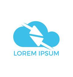 fast arrows inside cloud shape logo design vector image