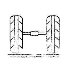 Figure cute tires car style design vector