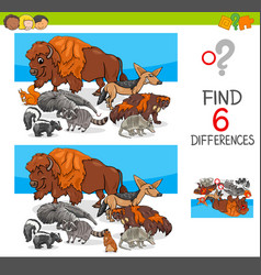 Find differences with wild animal characters vector