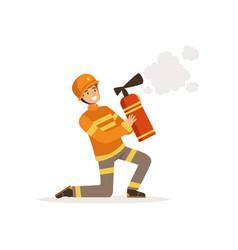 Fireman character in uniform and protective helmet vector