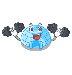 Fitness character cartoon ice house in snowfield vector