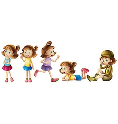 Five adorable kids vector