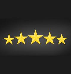 five golden rating star in black background vector image