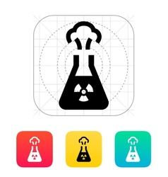 Flask with radiation icon vector