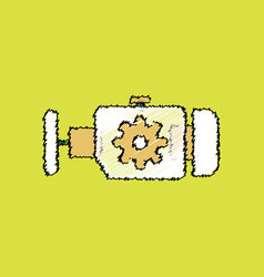 Flat icon design collection engine and gear in vector
