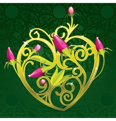 floral golden heart vector image