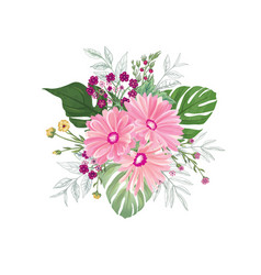 flower bouquet over white background floral vector image