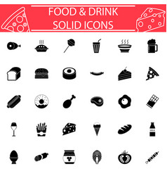 food and drink solid icon set vector image