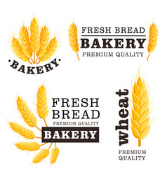 Fresh bread isolated logo set vector