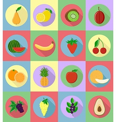 Fruits flat icons 20 vector