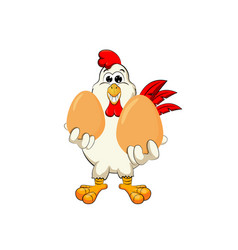 funny cock keeps eggs vector image