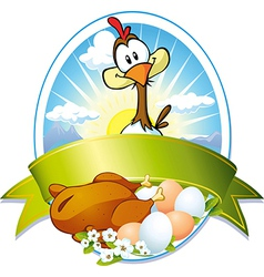 Funny label with hen and eggs vector