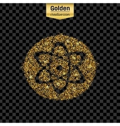Gold glitter icon of atom isolated on vector