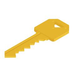 Golden door key isolated on white background vector