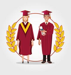 graduate couple avatar character vector image
