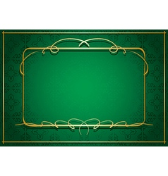 green background with gold frame vector image