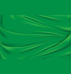 green wavy silk fabric texture background vector image