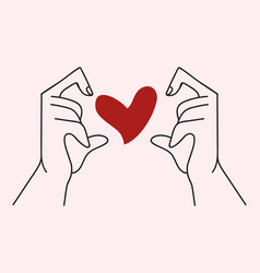 hand with hand shaped heart vector image