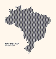 hexagonal halftone design brazil map vector image