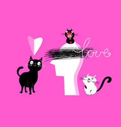 holiday card with funny cats and hearts vector image