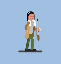 Hunter girl with gun and jacket vector
