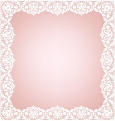 Lacy frame on pink vector