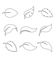 leaves thin icon set vector image