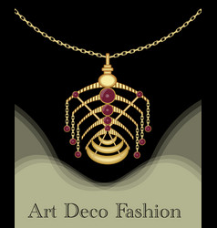luxury art deco filigree pendant unusual jewel vector image