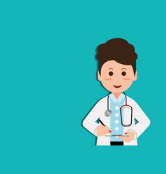 Medical professional in suit writing medical vector