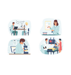 medical research cartoon man and woman work with vector image