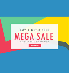 Mega sale marketing banner template with abstract vector