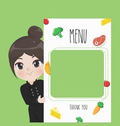 menu chef girl vector image