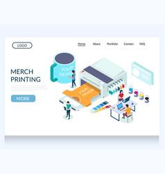 Merch printing website landing page design vector