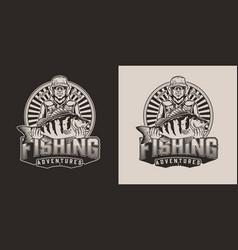 Monochrome fishing print vector