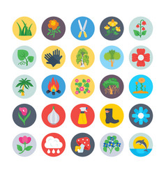 nature and ecology flat circular icons 4 vector image vector image