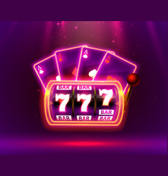 Neon slot machine playing cards wins jackpot vector