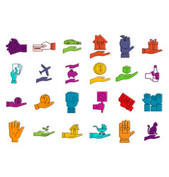 Object in hand icon set color outline style vector