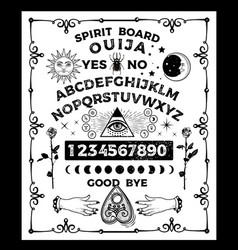 Ouija board with skull occultism set vector