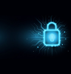 padlock on circuit board with cyber security vector image