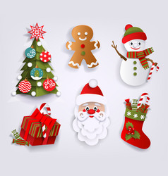 Paper cut set of christmas decoration elements vector