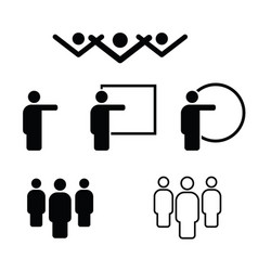 People icon in black and white color vector