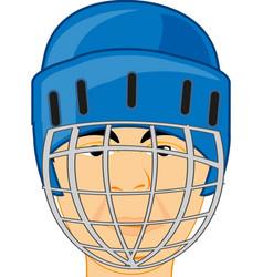 Person men hockey player in defensive send vector