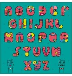 Pink artistic font Funny symbols vector