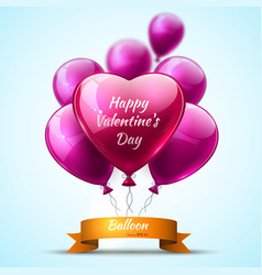 pink detailed 3d balloons valentine day realistic vector image
